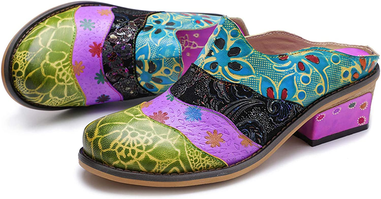 CrazycatZ Women's Vintage Slip-Ons Mule Clog Backless Loafer shoes