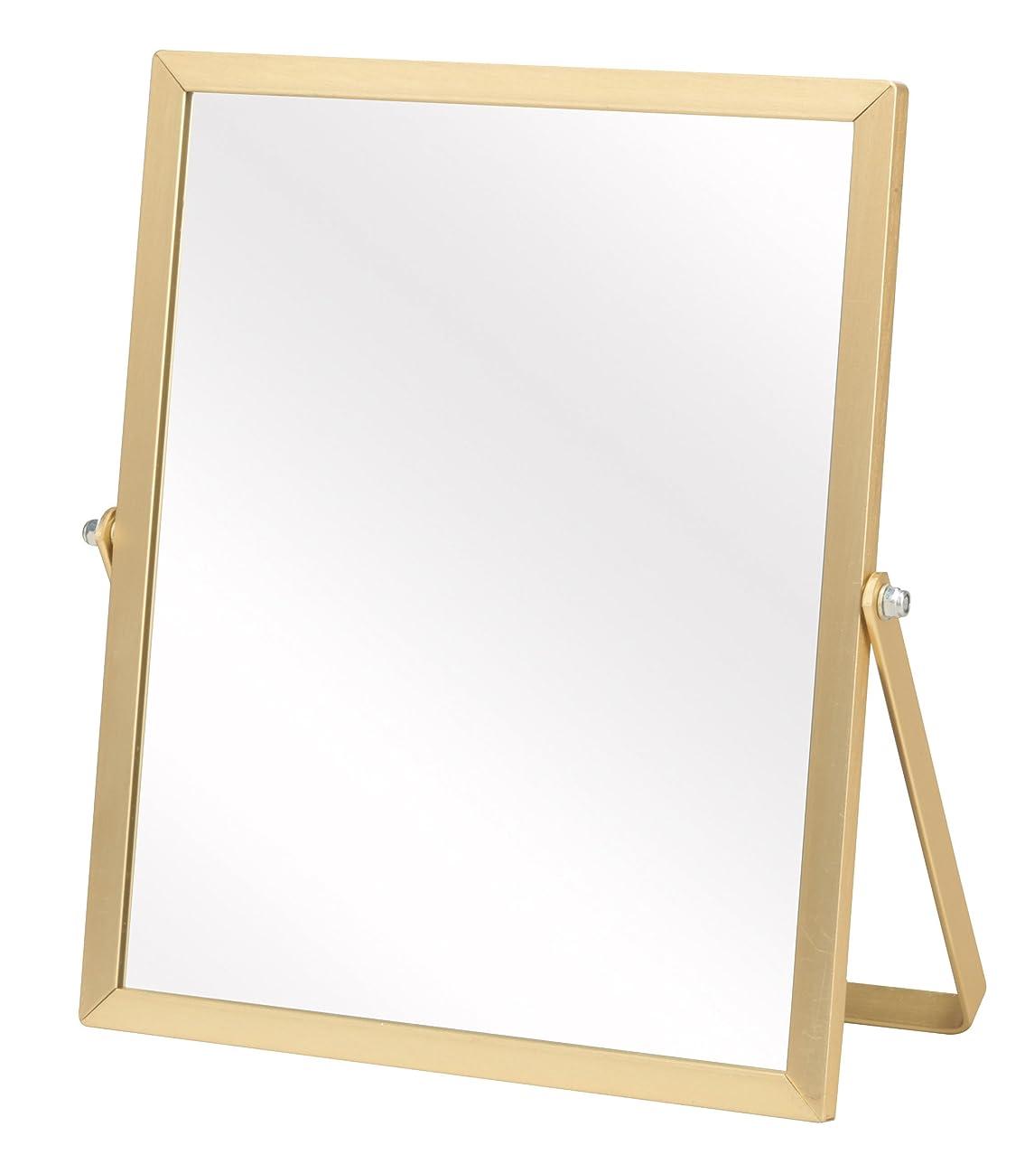 オーバーコート光の補体永井興産 アルミ卓上ミラーS ゴールド 幅17×高さ20cm