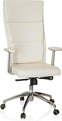 hjh OFFICE 600410 silla ejecutiva MONZA 20 cuero marfil sillón oficina con brazos respaldo alto silla giratoria