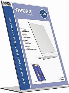OPUS 2 Présentoir de table, L-Standard, format A4, Portrait – Présentoir de table, menu et dépliant en acrylique transpare...