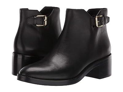 Cole Haan Harrington Grand Buckle Bootie (Black Leather/Black Stack) Women