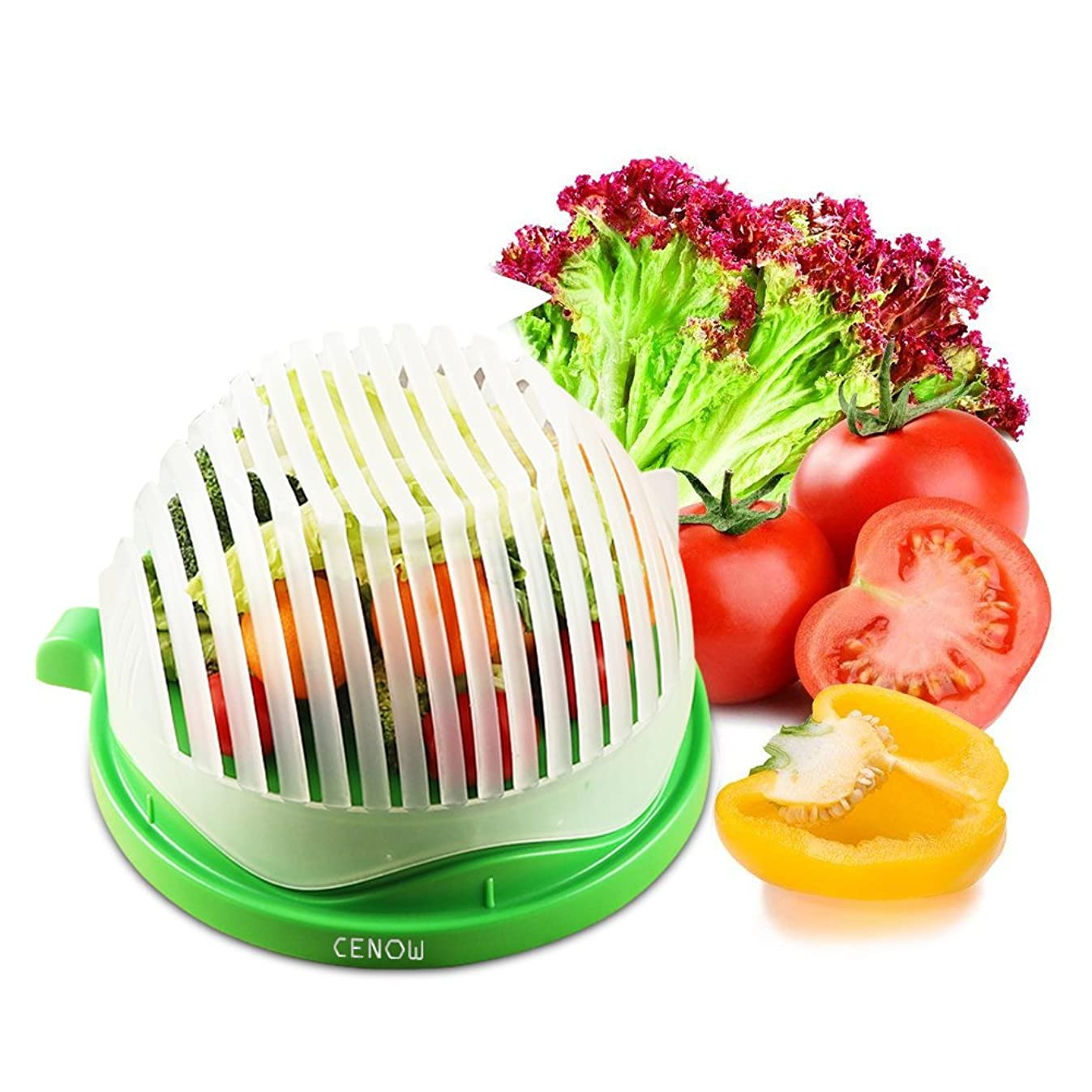 Salad Cutter Bowl Salad Chopper Bowl 60 Seconds Salad Maker Food Grade ABS Convenient for Chopping Vegetable Fruits Use As A Strainer Cutting Board Salad Chopper Sink