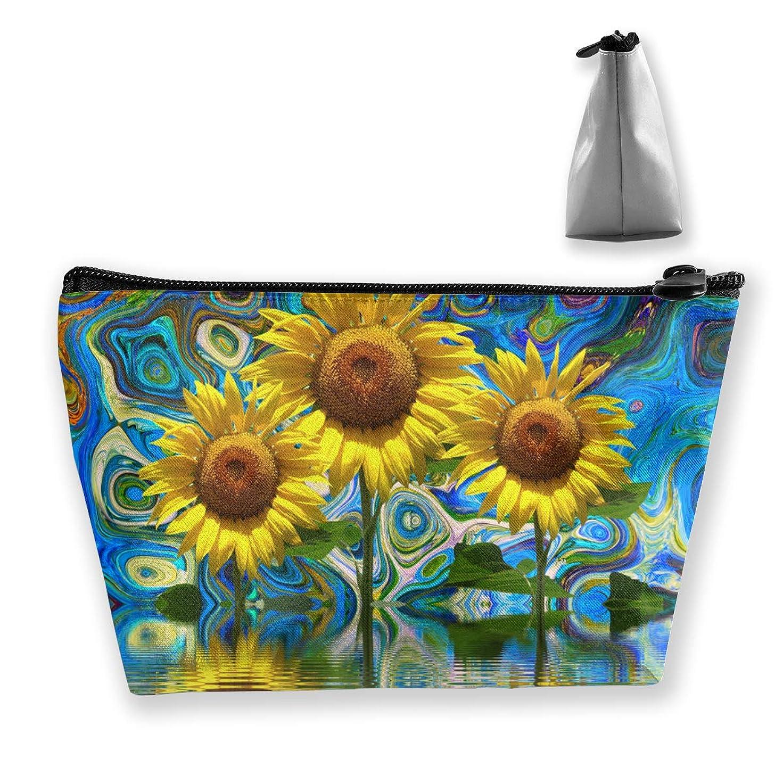 物足りないロバディプロマSzsgqkj アート抽象ひまわり 化粧品袋の携帯用旅行構造の袋の洗面用品の主催者