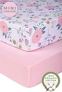 Pickle & Pumpkin Graco Pack n Play Mattress Sheet   2 Pack Mini Crib Sheets in 100% Organic Jersey Cotton   Ideal as Pack and Play Mattress, Playpen or Playard Sheets   Pink & Floral Crib Sheet