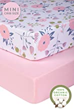 Pickle & Pumpkin Graco Pack n Play Mattress Sheet | 2 Pack Mini Crib Sheets in 100% Organic Jersey Cotton | Ideal as Pack and Play Mattress, Playpen or Playard Sheets | Pink & Floral Crib Sheet