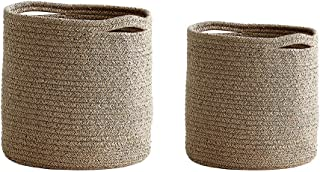 WALTSOM Cotton Rope Plant Baskets, 2 Pack Modern Woven Basket with Handle for Indoor Flower Pot, Storage Organizer Laundry Bins for Crafts Toys Towels (12x12 & 10x10, No Plant)