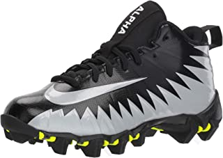 Nike Boy's Alpha Menace Shark BG Football Cleat Wide Black/Metallic Silver/White Size 2 M US