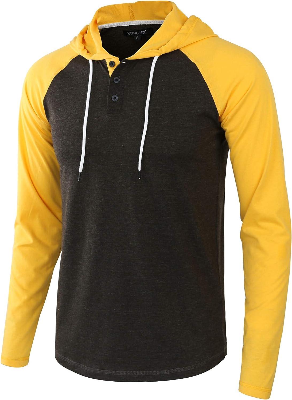 HETHCODE Men's Casual Max 86% OFF Lightweight Long Jers Sleeve Raglan Product Henley