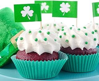 Chuangdi 200 Pieces Shamrock Picks Shamrock Cupcake Topper St Patrick's Day Picks Toothpicks Four Leaf Clover Picks for St Patrick Party Cake Decoration
