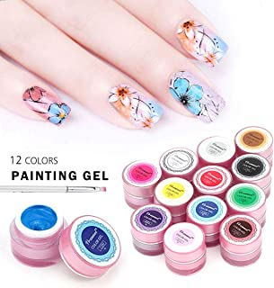 Vrenmol Summer Nail Art Set 12 Colors Gel Nail Polish Paint Soak Off UV LED Acrylic Tip Drawing Gel DIY 8g