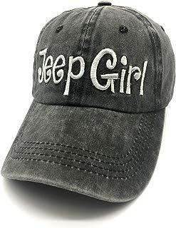 Waldeal Embroidered Jp Girl Vintage Distressed Adjustable Baseball Caps Washed Denim Dad Hats