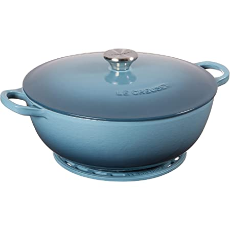 Amazon Com Le Creuset Enameled Cast Iron Curved Round Chef S Oven With Silicone French Trivet 4 5 Qt Marine Kitchen Dining