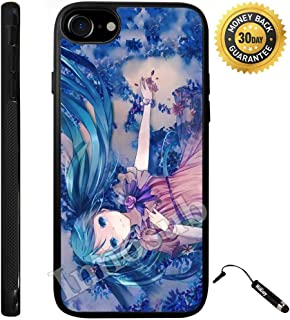 Custom iPhone 7 Case (Cute Anime Blue Miku) Edge-to-Edge Rubber Black Cover with Shock and Scratch Protection | Lightweight, Ultra-Slim | Includes Stylus Pen by Innosub