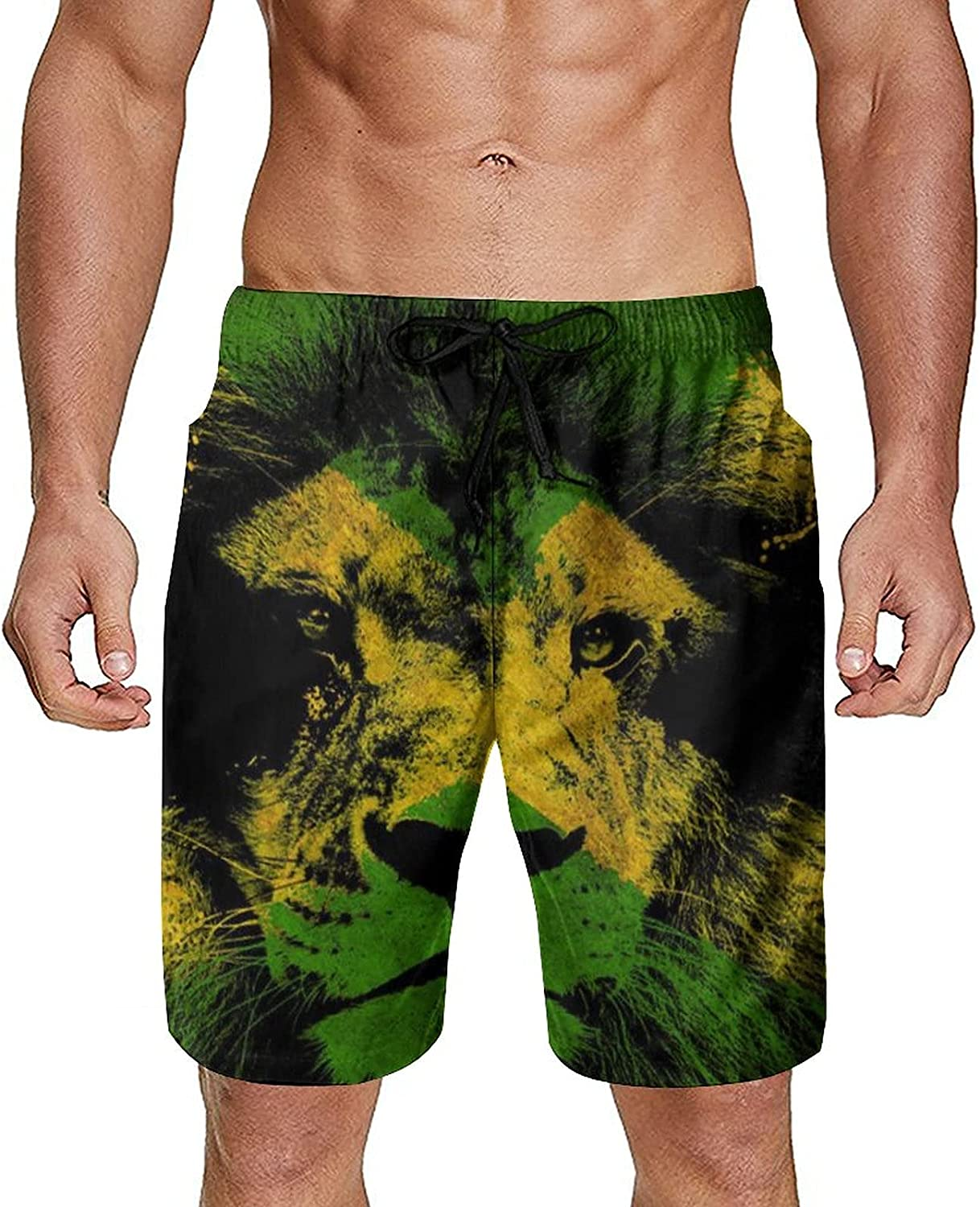 Gdewcro Jamaican Lion Flag Men's Summer Swim Trunks Quick Dry Board Shorts Beach Shorts with Mesh Lining