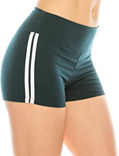 Women Workout Yoga Shorts - Premium Buttery Soft Stretch Athletic Running Dance Voleyball Short Pants with Stripes