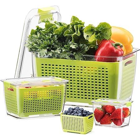 Luxear Lot De 3 Boîte De Conservation Alimentaire, Boîte Fraicheur 4,5 L+1,7 L+0,5 L sans BPA pour Rangement Frigo avec Égouttoir, Récipient de Conservation Salade pour Légume Fruit Fromage, Vert