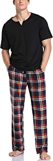 Vlazom Men's Pajamas Set Short Sleeve Soft Cotton PJ's Top and Plaid Pants for Sleepwear Loungewear with Pockets