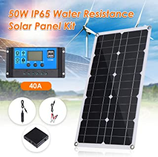 Tomshine 50W DC 9V/18V Flexible Solar Panel with 40A LED Display Controller Kit Set with USB/Type C Interface & Car C-harg...