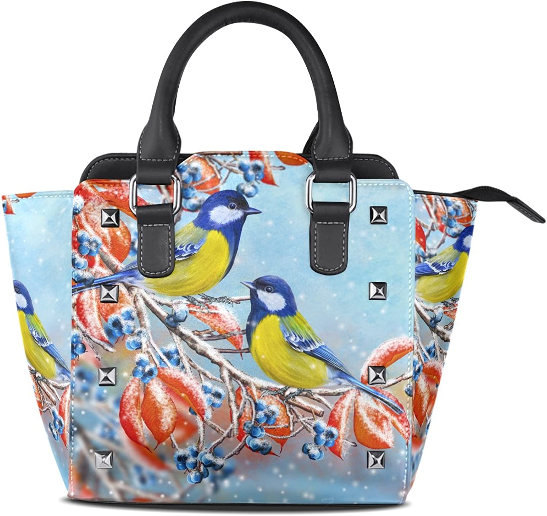 My Little Nest Women's Top Handle Satchel Handbag Small Bird Branch Red Leaves Ladies PU Leather Shoulder Bag Crossbody Bag