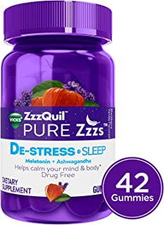 Vicks Zzzquil Pure Zzzs De-Stress & Sleep Melatonin Gummies with Ashwagandha, Chamomile, Lavender, 42 Count