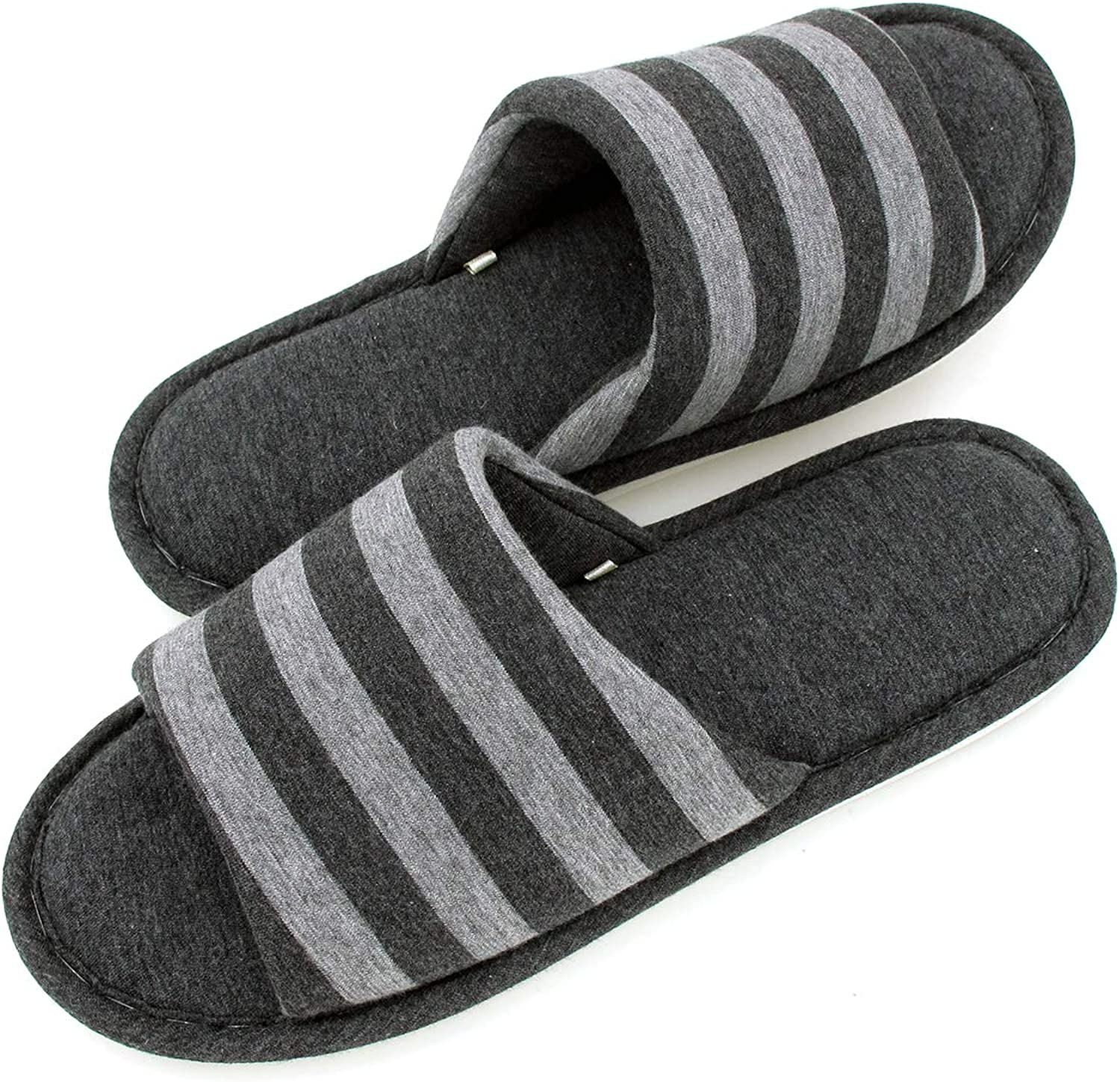 Sunshine Code Men's Women's Memory Foam Cotton Washable Stripe Slippers for Travel House Hotel Spa Bedroom