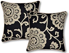 AGASVI Washed Cotton Duck Set of 2 Embroidered Matte Black/Beige Throw Pillow Covers 16x16 inches