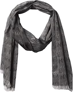 A|X Armani Exchange Men's All Over Logo Print Jacquard Scarf, nero - black, OS
