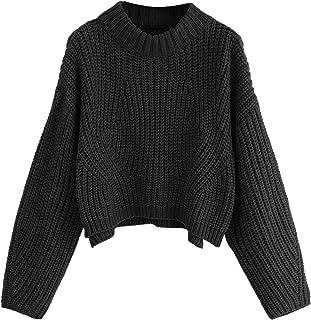 SheIn Women's Mock Neck Drop Shoulder Oversized Batwing Sleeve Crop Top Sweater
