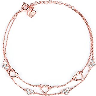NINAMAID Love Heart Woman Jewelry Silver Infinity Adjustable Bracelet Rose Gold Plated Chain Anklets Gifts for Women Girl