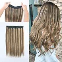 Lovrio 16 inch 100g Halo Remy Haman Hair, Piano Color Chestnut Brown Mix with Dark Dirty Blonde Highlights, Invisible Wire Crown Fish Line Hair