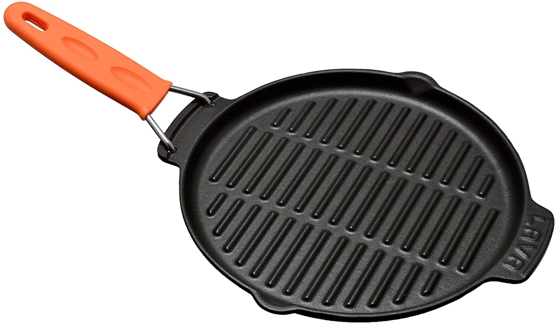 Sartén grill de hierro fundido 23 cm, mango de metal con cubierta de silicona, naranja, LAVA