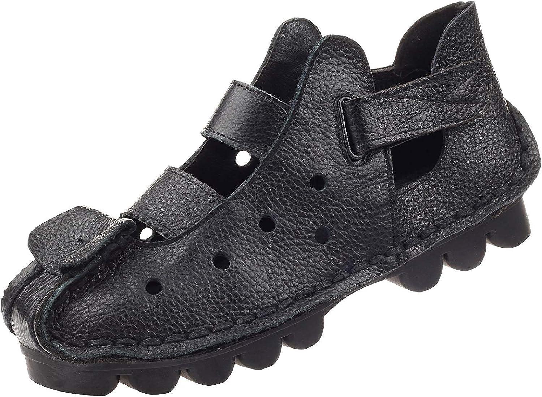 ZHRUI Frauen Sommer Sandalen Vintage handgefertigte echtes Leder Wohnungen Schuhe (Farbe   Style 2-schwarz, Größe   4 4.5 UK)  | Komfort