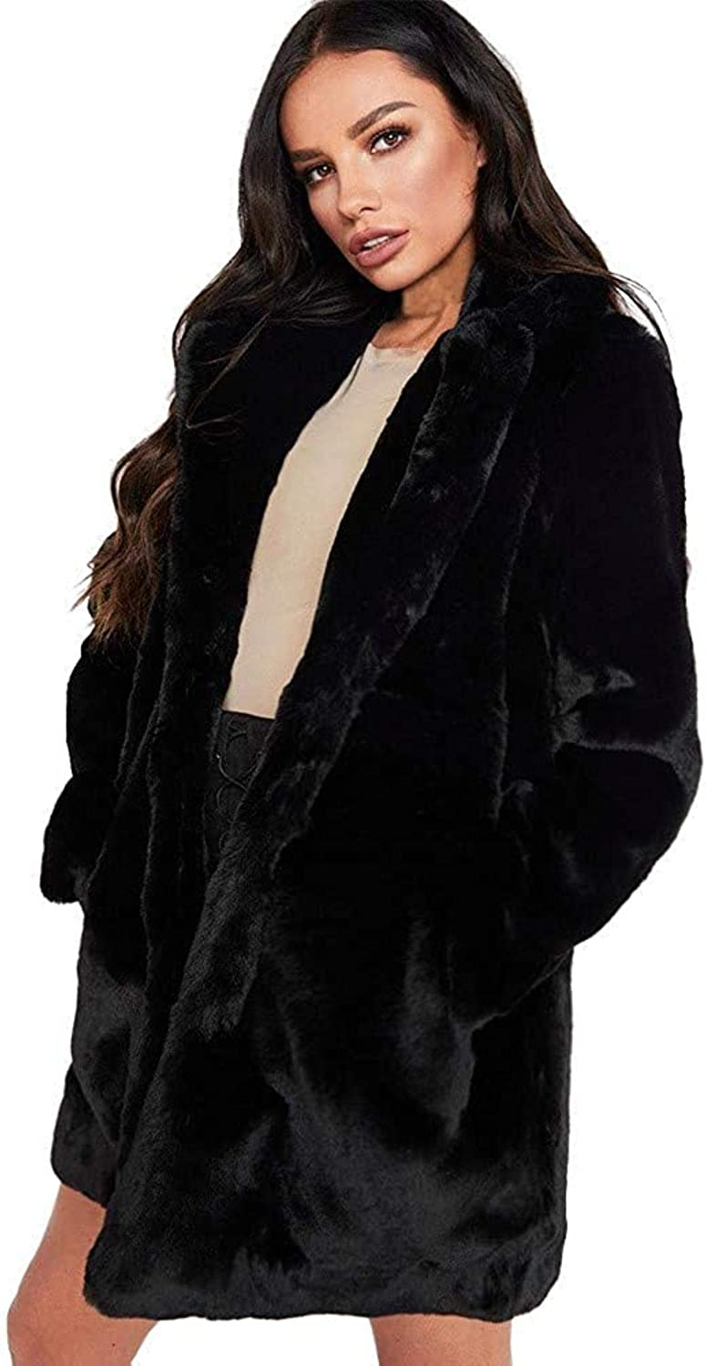 Womens Faux Fur Coat Plus Size Oversized Parka Jacket Long Trench Winter Warm Thick Outerwear Overcoat