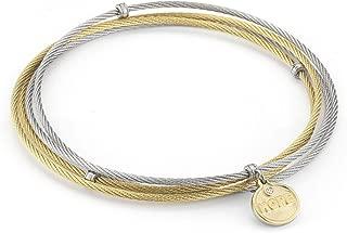 ALOR Grey & Yellow Cable Affirmation Bangle with Diamond Hope Charm