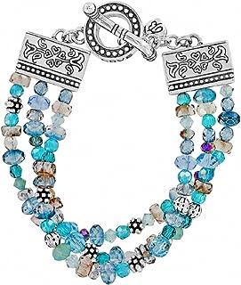 Ophelia Jewels Bead Silver Plated Blue Bracelet