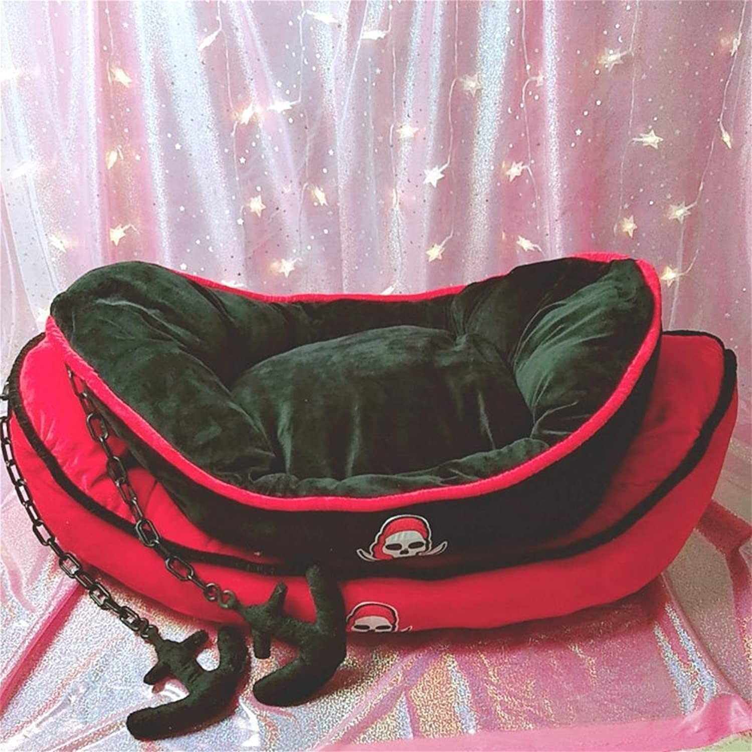 Desti Flakes Pet Bolster Dog Bed Comfort Small and MediumSized Dog Kennel cat nest (color   B, Size   60  50  10cm)