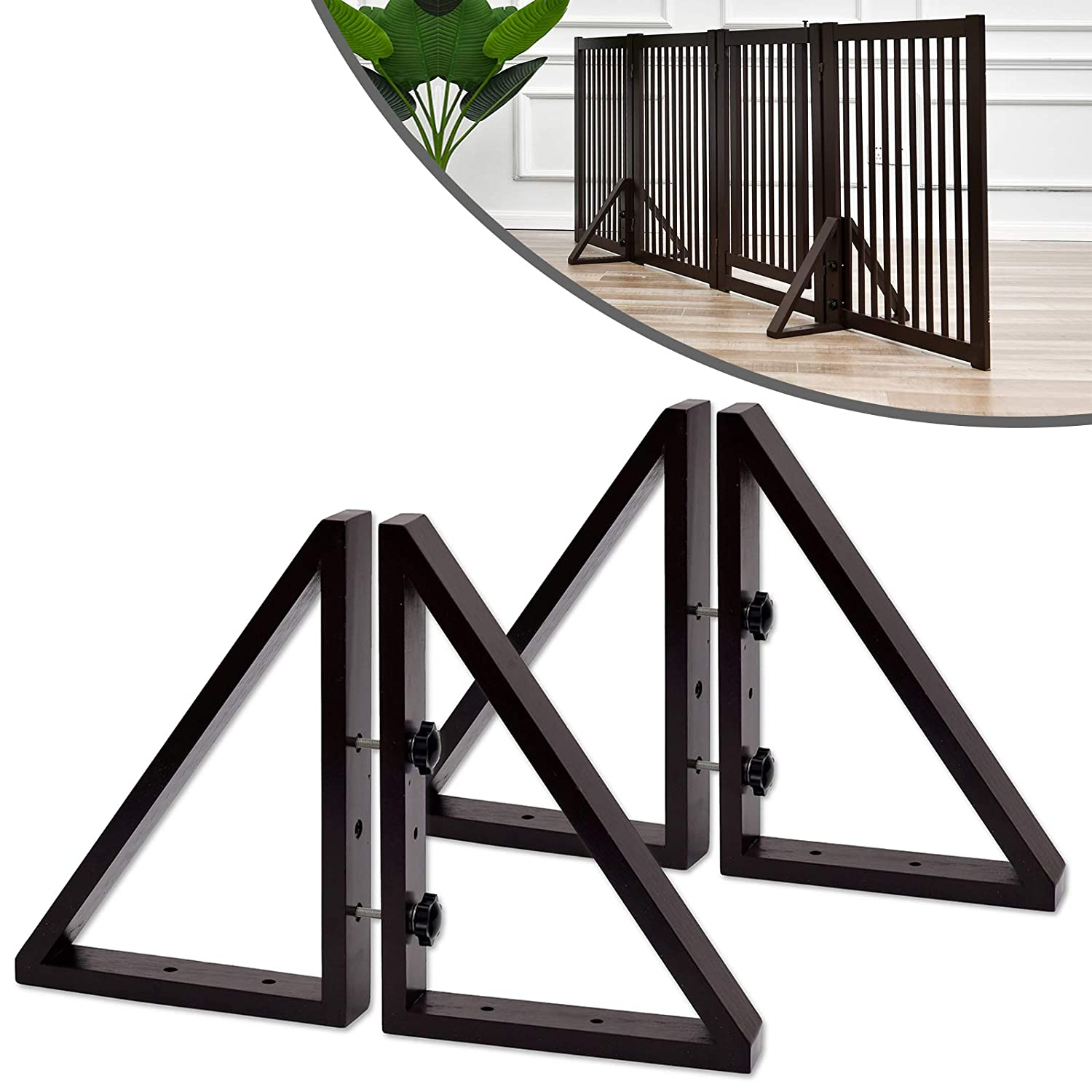 WELLAND Triangle Support Feet Set of 2 for 360 Degree Configurable Gate Collection, Solid Pine Wood, Easy to Install, 2 Pairs of Safety Fence Feet for Freestanding Pet Gates, Espresso (Only Feet)