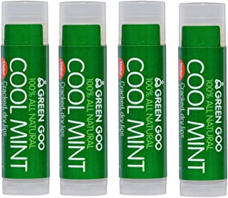 Green Goo All-Natural Skin Care, Lip Balm, Cool Mint, Stick, 0.15 Ounce (Pack of 4)