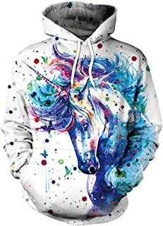 Unisex Realistic 3D Unicorn Print Pullover Hoodie Hooded Sweatshirt