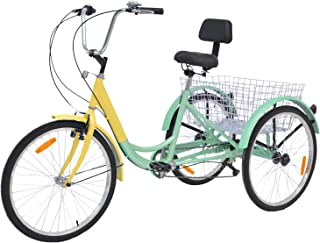 MOPHOTO Adult Tricycles 7 Speed 24 Inch Three Wheel Bike Cruiser Trike with Low-Step Through Frame/Large Basket/Backrest Saddle for Men/Women/Seniors/Young