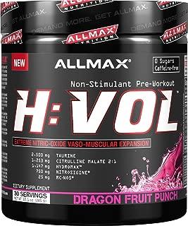 ALLMAX Nutrition HVOL Powder, Non-Stimulant Pre-Workout, Dragon Fruit, 285g