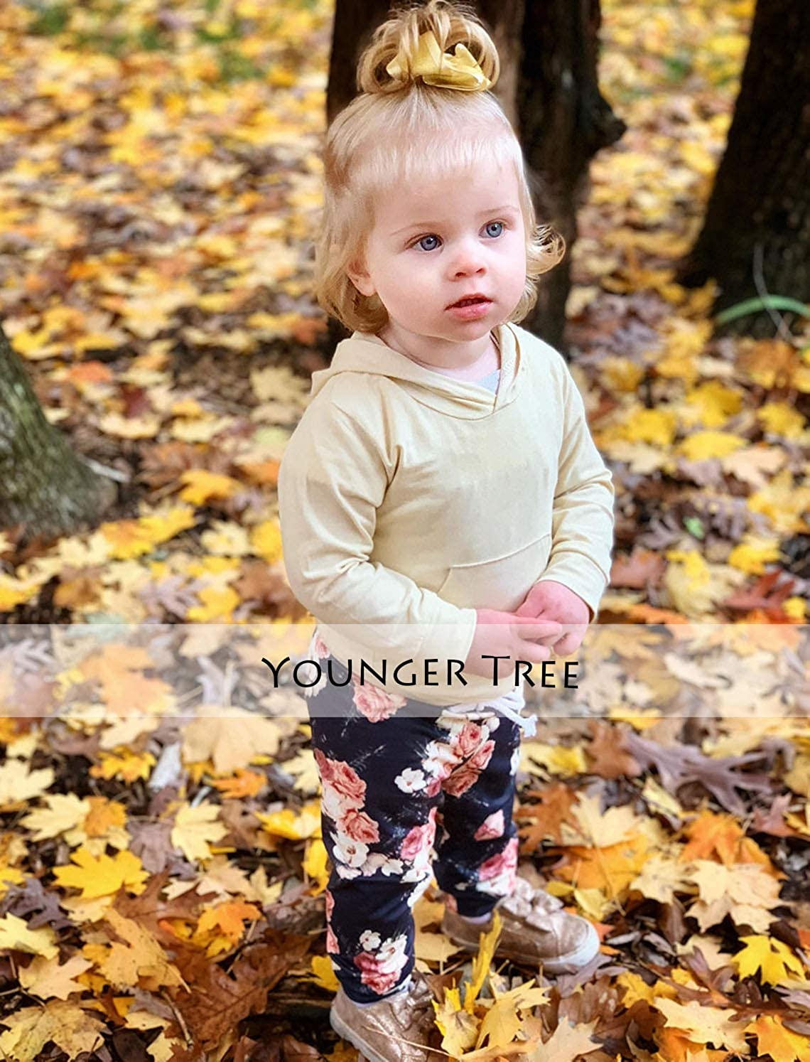 Infant Baby Girls Clothes Yellow Hoodie with Pocket Tops Floral Pants +Headband 3Pcs Floral Outfit Sets