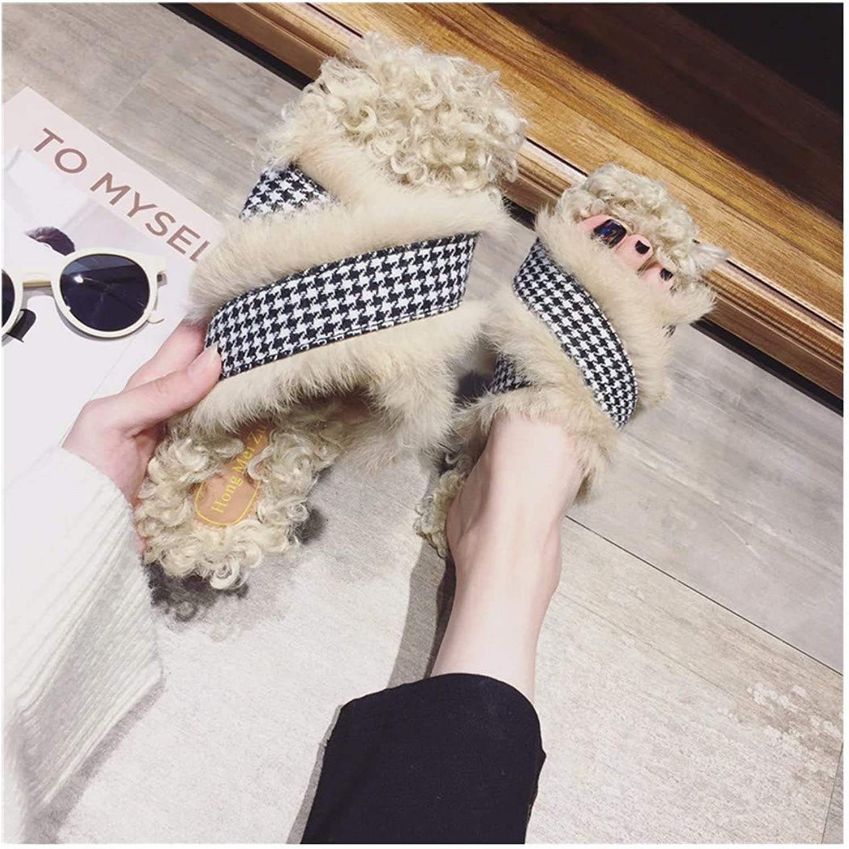 OMFGOD Damen Mode Hausschuhe Komfort Künstliche Fell Leder Gummi Unten Absatz Indoor Outdoor Schuhe  | Online-verkauf