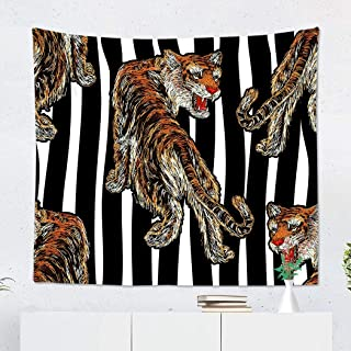 Suklly Tapestry Wall Hanging Polyester Black Tiger Design Modern for Your Striped Bomber Jacket Denim Graphic Graphic Tee Home Decor Living Room Bedroom Dorm 50 x 60 inches Picnic Mat Beach Towel