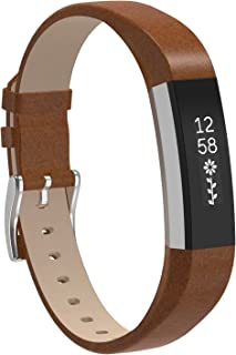 Replacemnt Leather Bands Compatible with Fitbit Alta/Fitbit Alta HR, Classic Genuine Leather Wristband, Small Large, No Tracker