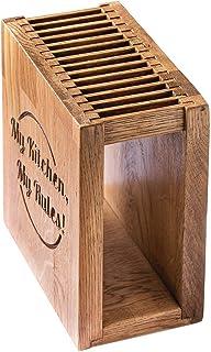 El bloque de cuchillos de madera hecho a mano de roble es el mejor lugar para guardar cuchillos de diferentes tamaños