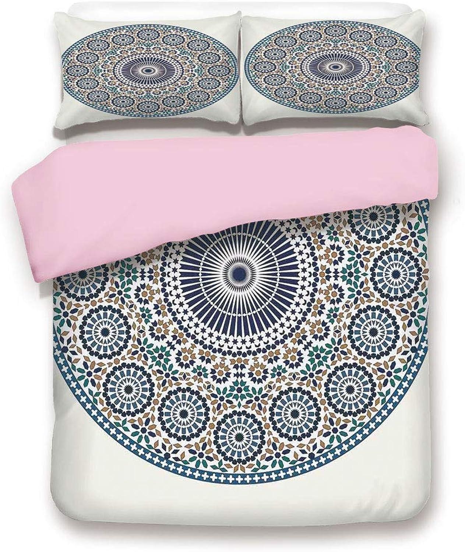 Pink Duvet Cover Set& xFF0F;Queen Size& xFF0F;Antique Arabic Mosaic Circular Pattern Round Design Ornamental Pattern Vintage Style Art& xFF0F;Decorative 3 Piece Bedding Set with 2 Pillow Sham& xFF0F;Best Gift For Girls Women& xFF0F;blue