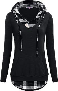 Misswor Womens V-Neck Long Sleeve Pullover Sweatshirt Hoodies