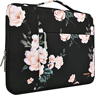 MOSISO Laptop Briefcase Handbag Compatible with 15-15.6 inch MacBook Pro, Notebook Computer, Polyester Multifunctional Protective Carrying Sleeve Case Cover Bag, Apricot Peony
