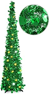 HMASYO Pop Up Tinsel Christmas Tree with Lights - 5 Foot Sequin Artificial Christmas Pencil Trees Xmas Decorations for Home Office Fireplace Party, Collapsible and Easy to Assemble (5 Foot - Green)